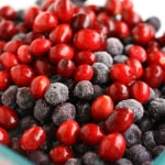 Fresh cranberries and frozen blueberries - ingredients for this easy fruit crisp!