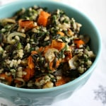 Flavorful and healthy sweet potato, wild rice, and mushroom stuffing recipe.