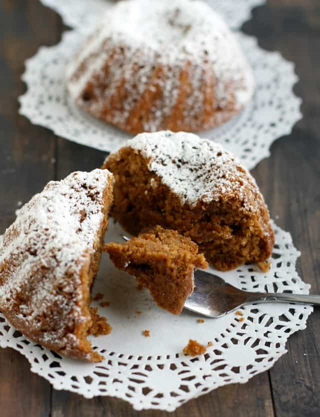 Vegan gingerbread mini bundt cakes are a perfect holiday dessert!