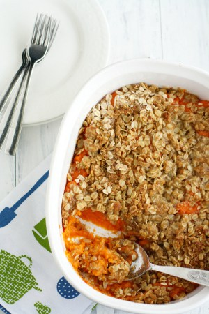 This vegan and nut free sweet potato casserole is sure to be a hit this Thanksgiving!