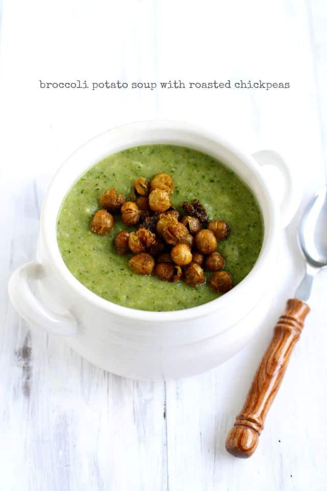 Creamy broccoli soup topped with roasted chickpeas - the perfect combination! Vegan and gluten free recipe.