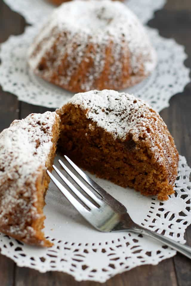 vegan gingerbread mini bundt cake on a doily