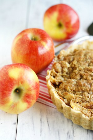 A delicious Amprosia apple tart with a buttery crumble topping!