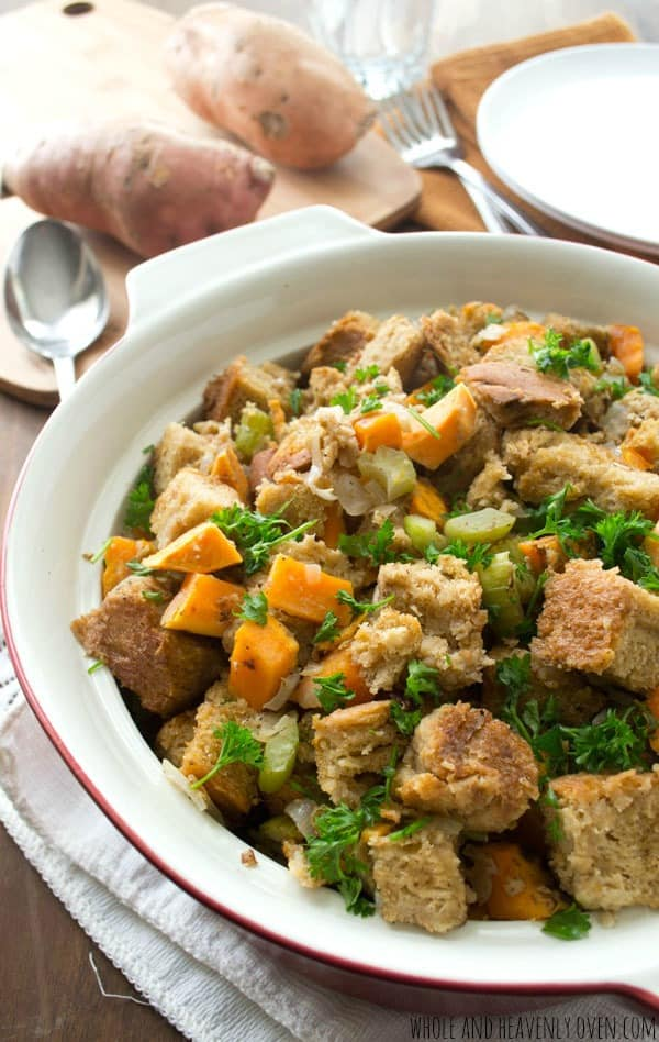 Crockpot Sweet Potato Stuffing in a serving dish