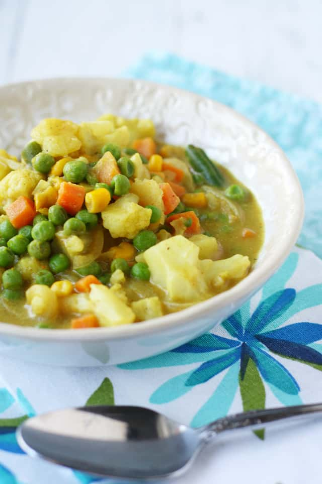 A healthy and comforting vegan and gluten free vegetable curry recipe.