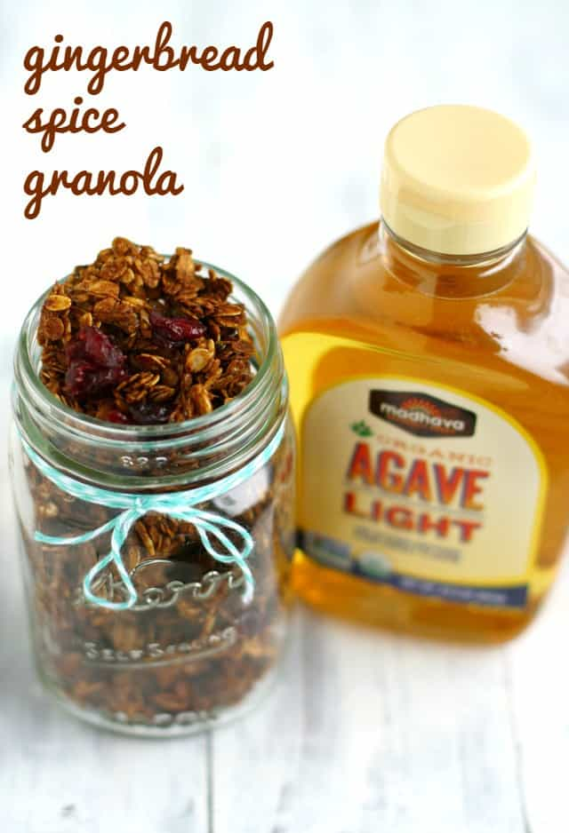 gingerbread granola recipe in mason jar