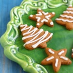 Gluten Free and Vegan Iced Gingerbread Cookies.