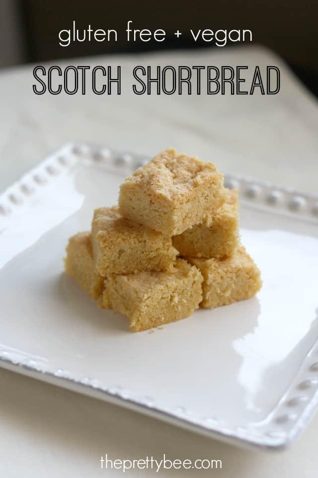 Simply delicious gluten free and vegan Scotch shortbread.