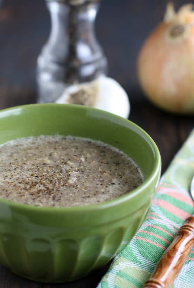 Creamy and delicious vegan and gluten free mushroom soup recipe.