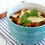 A quick and easy tortilla and bean soup recipe that's vegan and gluten free.