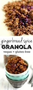 A delicious and healthy gingerbread spice granola recipe. The perfect granola for the holiday season! #glutenfree #sponsored