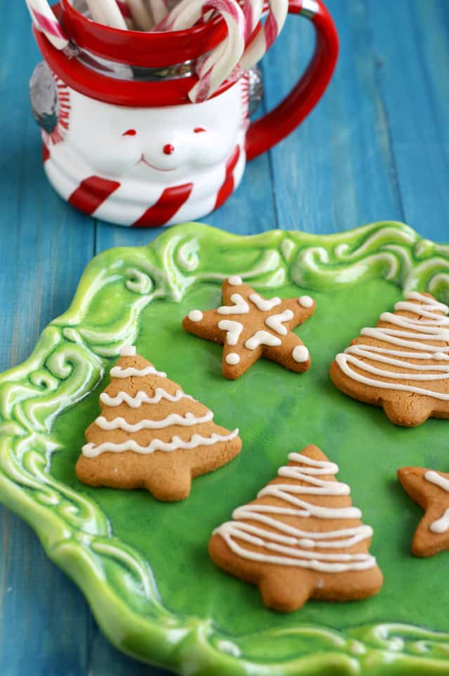 gluten free and vegan iced gingerbread cookies