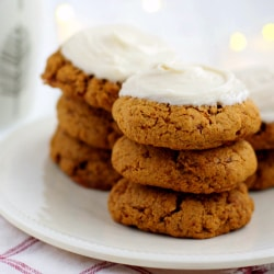 Chewy frosted molasses cookies are perfect for the holidays!