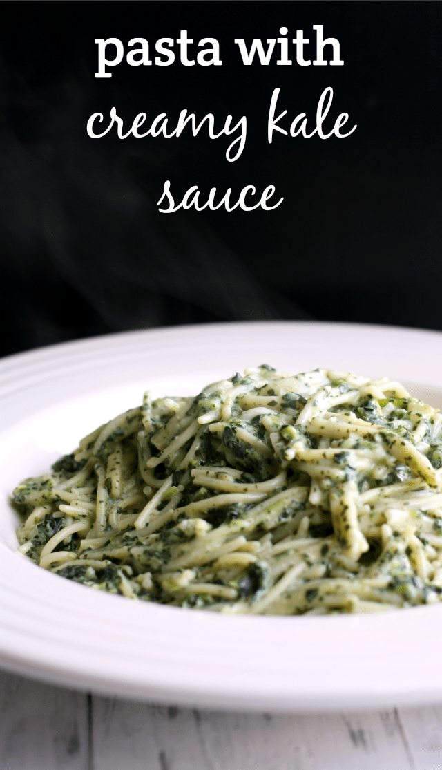 Gluten free pasta with creamy dairy free kale sauce