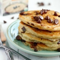 A family favorite: vegan chocolate chip oatmeal pancakes.