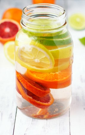 Rainbow citrus infused water - a healthy and delicious way to stay hydrated!