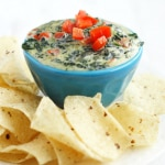 Creamy and cheesy vegan spinach dip recipe. Perfectly dippable for parties!