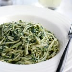 Pasta with a creamy kale sauce. Healthy and delicious comfort food. #kale