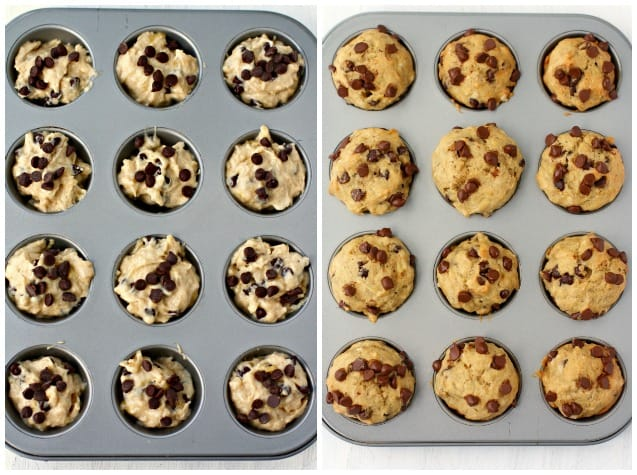 baked banana muffins in mini muffin tin