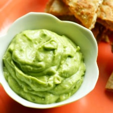 This creamy, dairy free avocado dip is a perfect match for quesadillas!