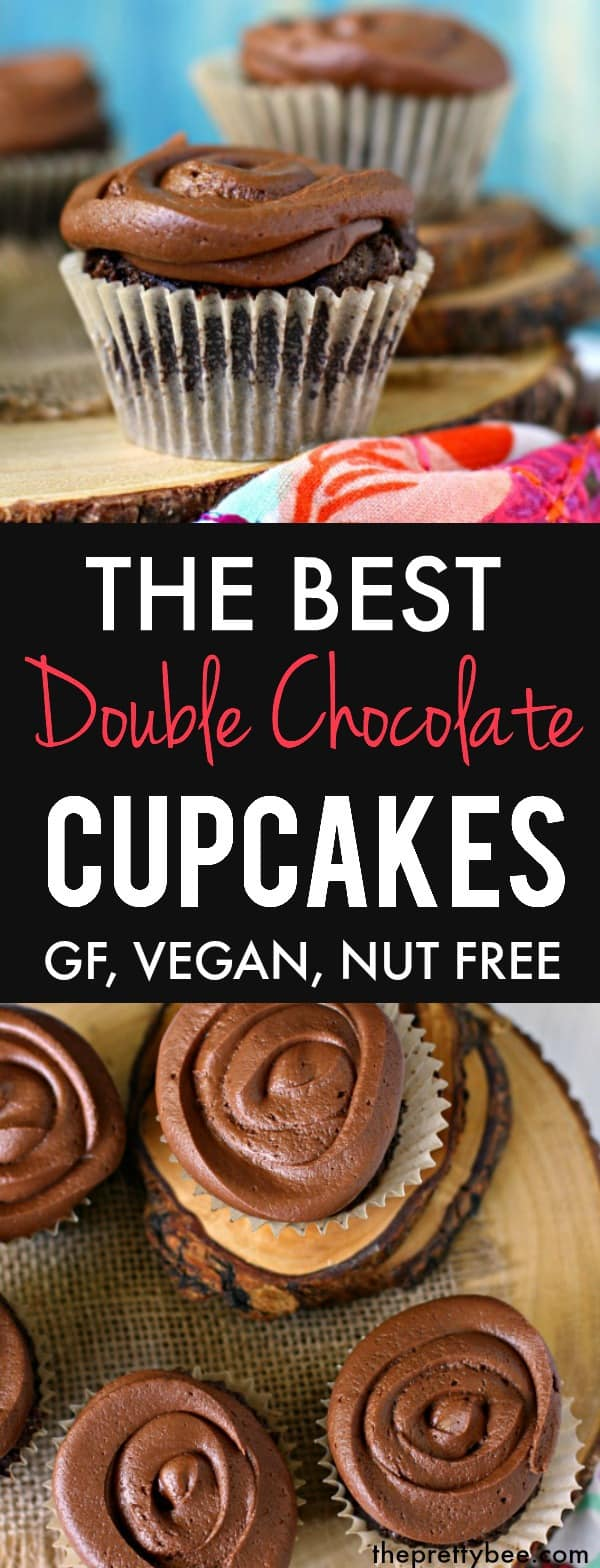 These double chocolate cupcakes are moist and delicious and topped with a rich, creamy, chocolate frosting. They are heavenly! #vegan #dairyfree #glutenfree #nutfree #chocolate