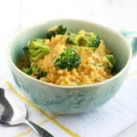Super easy cheesy broccoli rice recipe. An easy lunch or side dish! Naturally gluten free. #glutenfree