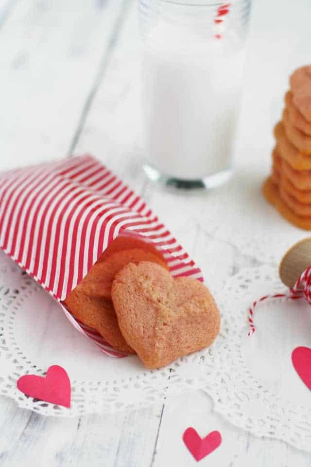 Valentine heart spritz cookies