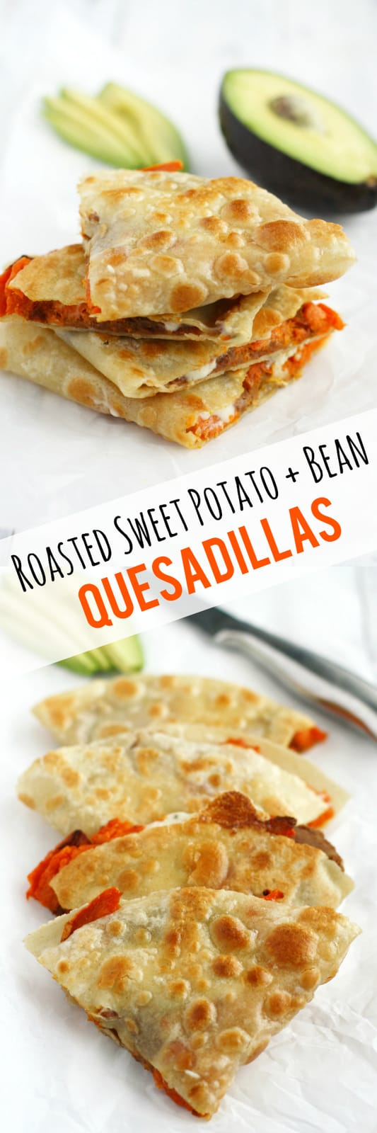 Make these crispy, melty, and delicious quesadillas for lunch today! Roasted sweet potatoes and beans make a healthy and tasty filling. #vegan #dairyfree #glutenfree