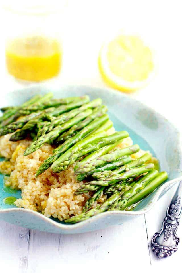 roasted asparagus with lemon mustard vinaigrette