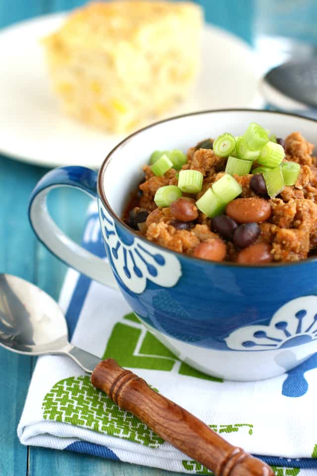 This healthy turkey chili is tasty and easy to make! Sweet and tangy, similar to baked beans, but packed with extra protein from the turkey! #glutenfree