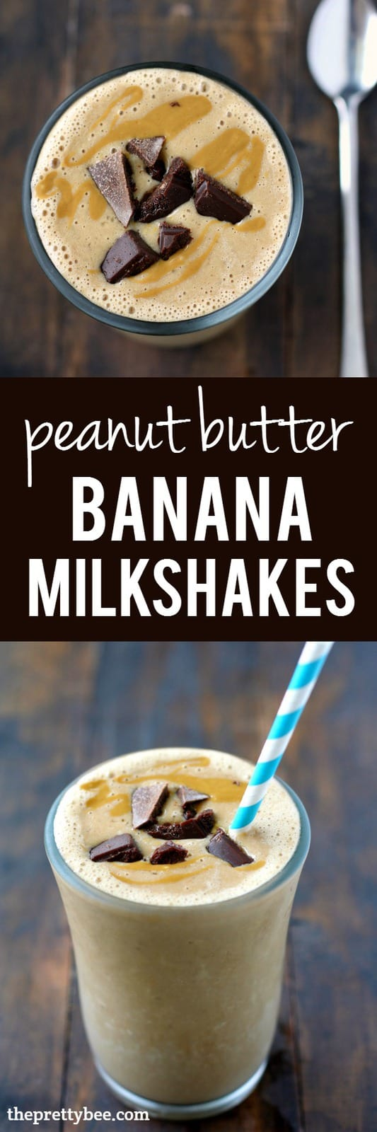 Dairy free and delicious - these peanut butter banana milkshakes are a great breakfast or dessert!