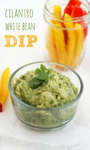 Healthy and protein packed white bean dip with garlic and cilantro.