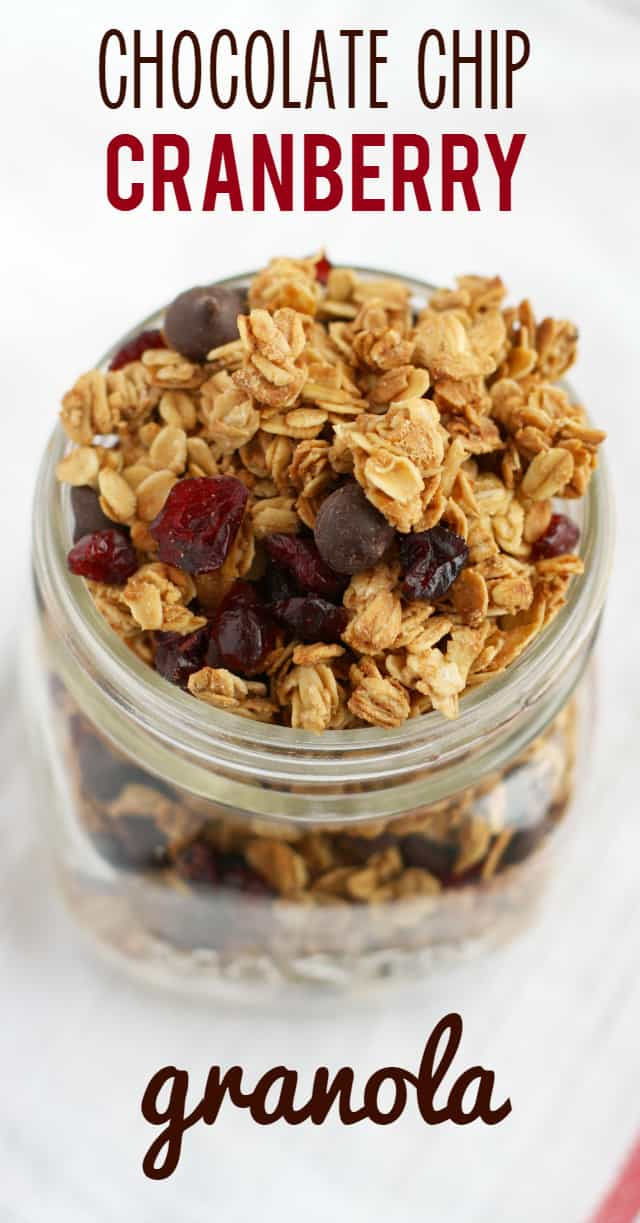 It's so nice to enjoy homemade granola for breakfast! This delicious recipe has lots of chocolate chips and cranberries, and it's gluten free and vegan! #glutenfree #vegan #dairyfree #granola #nutfree