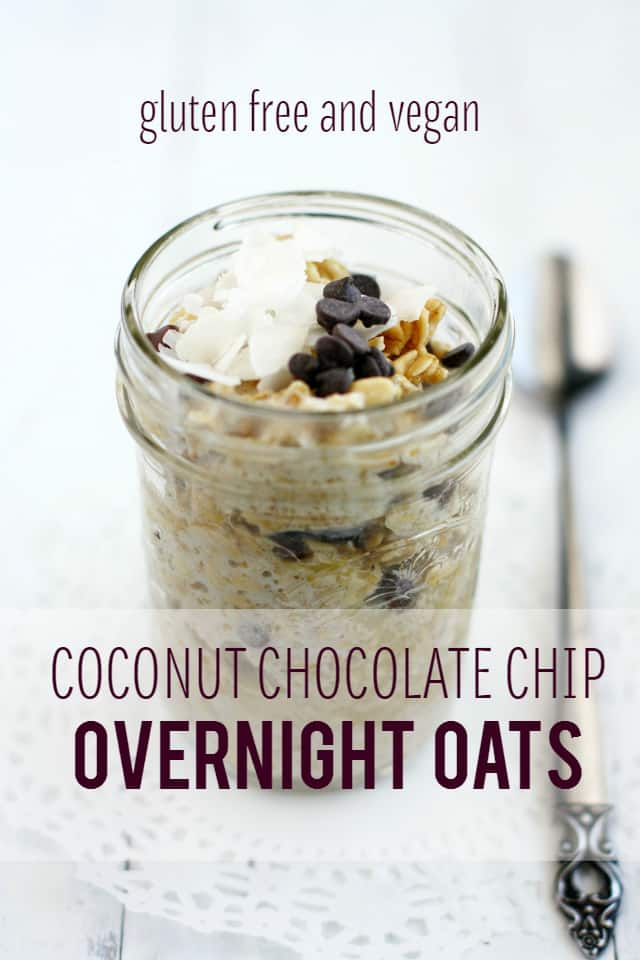 Super easy to make delicious coconut chocolate chip overnight oat recipe. #oatmeal