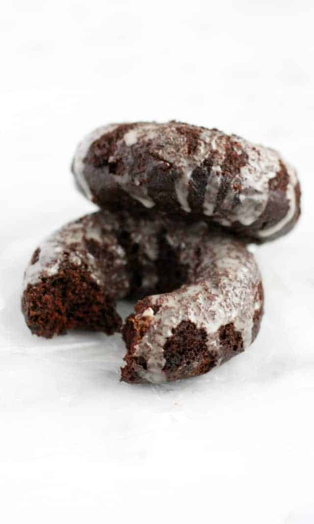 vegan glazed chocolate donuts