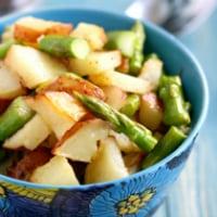 vegan potato salad with asparagus