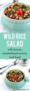 Caramelized onions, bacon, basil, and tomatoes make this wild rice salad extra delicious!
