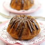 Banana Coconut Mini Bundt Cakes with Chocolate Glaze.
