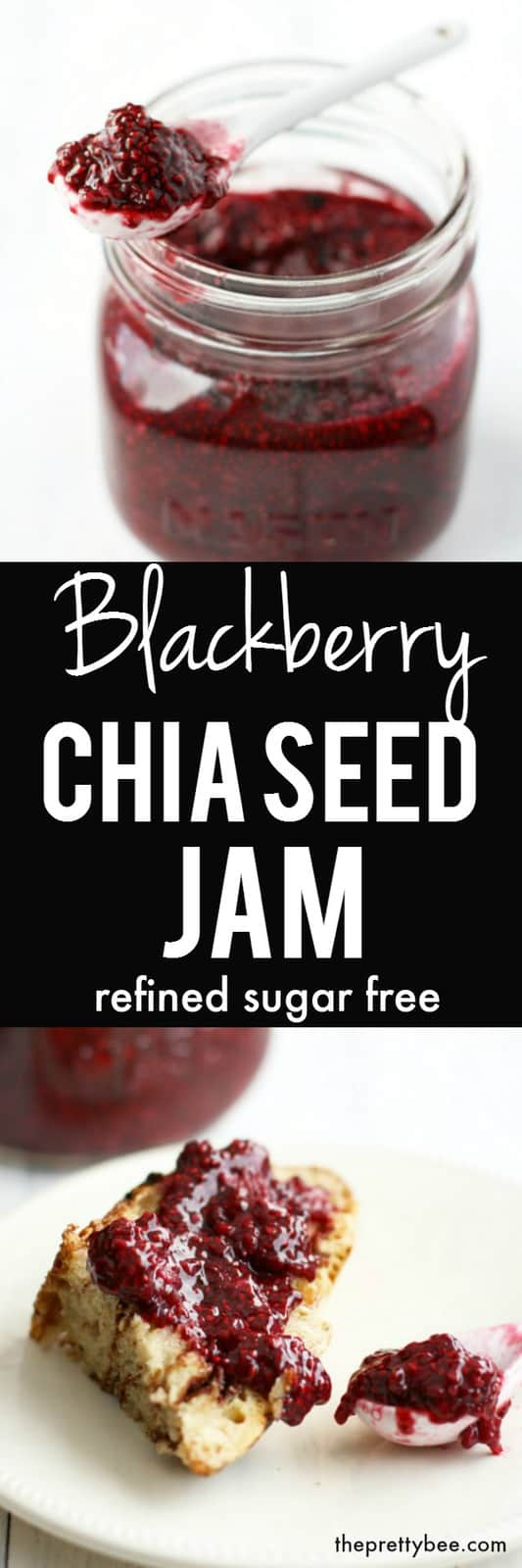 This blackberry chia seed jam is so easy to make and no pectin is required! It's delicious, healthy, and refined sugar free!
