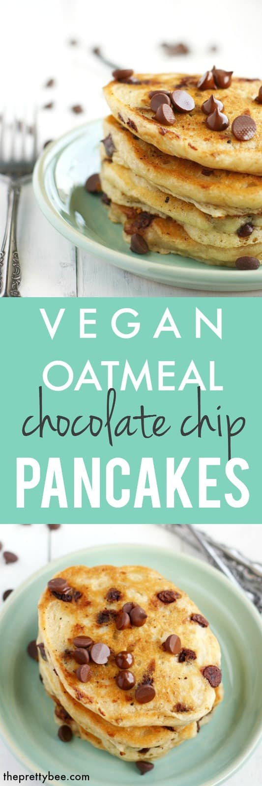 easy vegan oatmeal chocolate chip pancakes