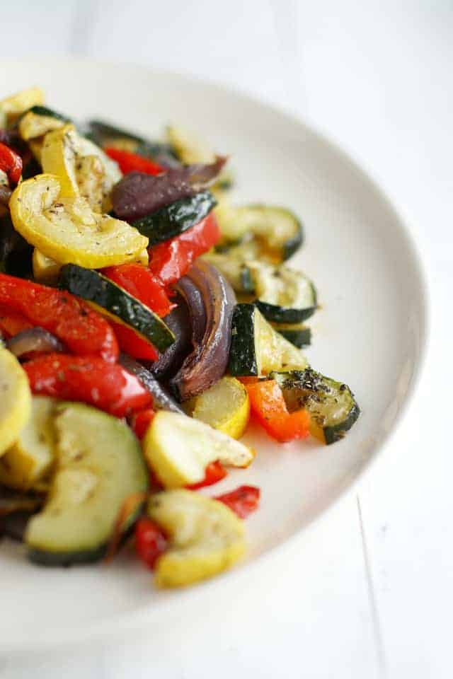 Roasted summer vegetables - healthy, colorful, and delicious!