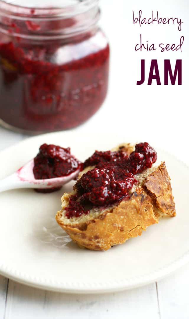 chia seed jam on fresh bread