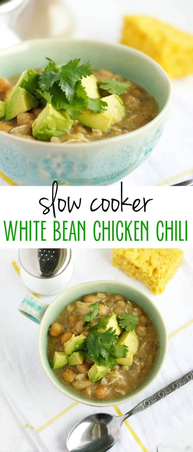 My family's favorite white bean chicken chili recipe made easy in the slow cooker! #chicken