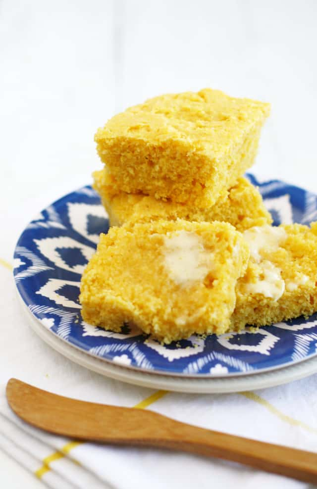 Perfectly moist #vegan cornbread - so delicious warm out of the oven with vegan butter!