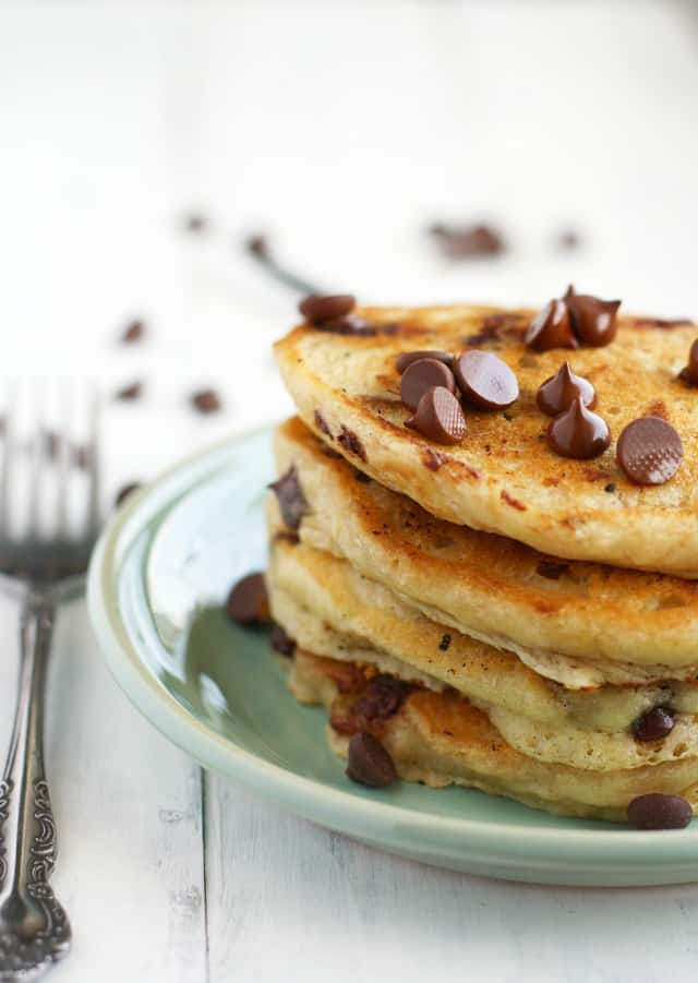 Vegan oatmeal chocolate chip pancakes
