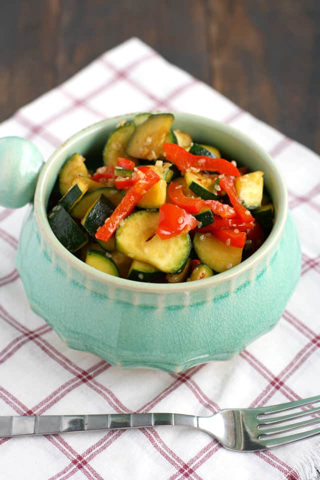 Fresh zucchini and peppers covered in a simple gluten free teriyaki sauce.