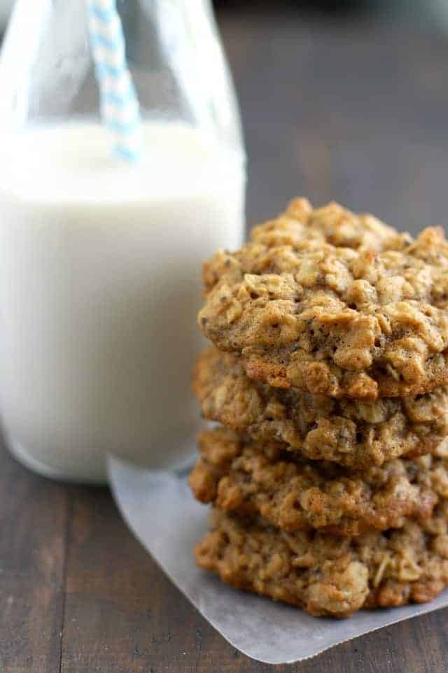 Soft, chewy, healthy applesauce oatmeal breakfast cookies. #ad