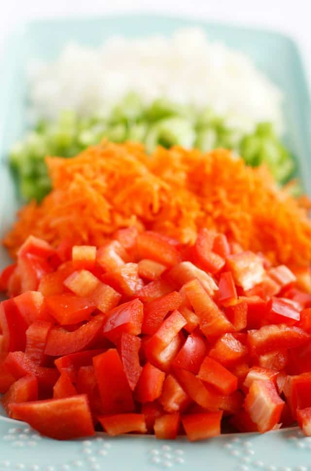chopped peppers onions and carrots