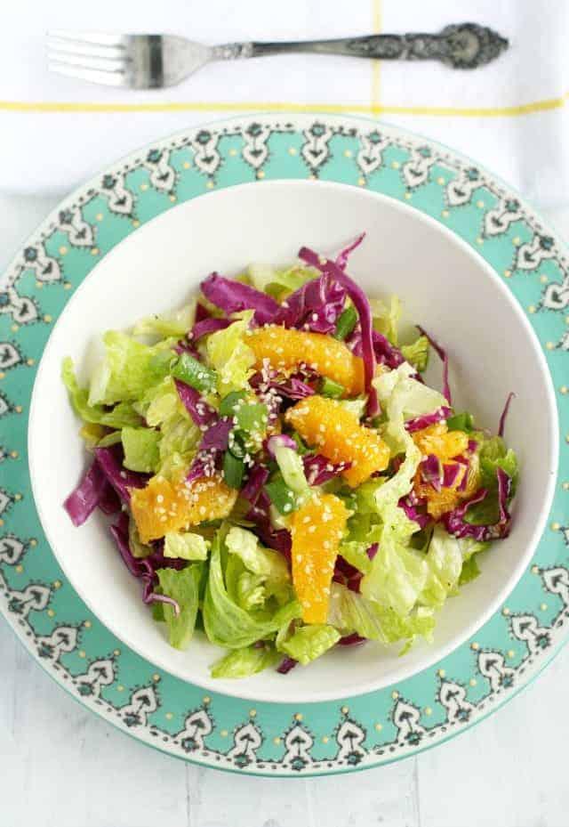 Orange romaine salad with sweet sesame dressing