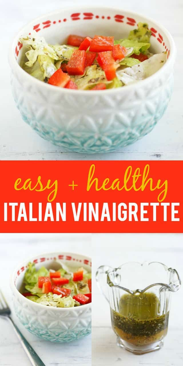 Delicious, easy, and frugal Italian vinaigrette recipe! Just six ingredients are needed to make this tasty salad dressing! #salad